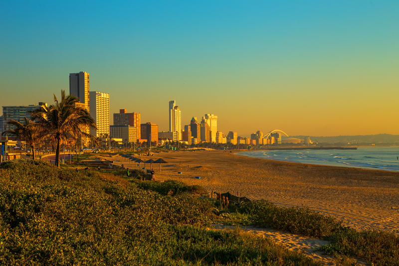 Durban Airport is located 35 km from downtown.